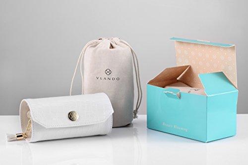 Vlando Rollie Portable Jewelry Roll, lipstick/Daily Jewelries Storage Case- (White) by Vlando (Image #2)