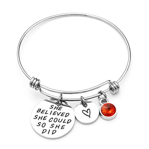 LIUANAN She belived she Could so she did Inspirational Bracelet Expandable Bangle Birthstone Stainless Steel Cuff (Garnet-Jan) …