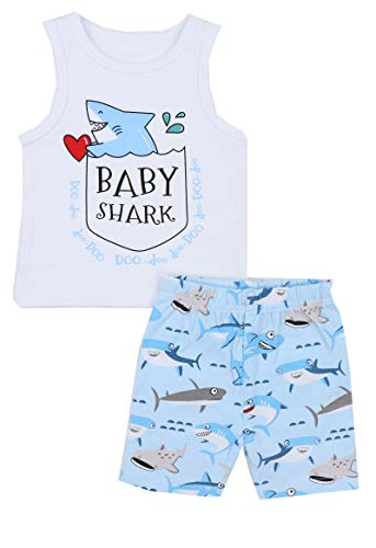 Baby Boy Girl Clothes Shark Print Summer Cotton Sleeveless Outfits Set Tops and Short Pants 12-18 Months White