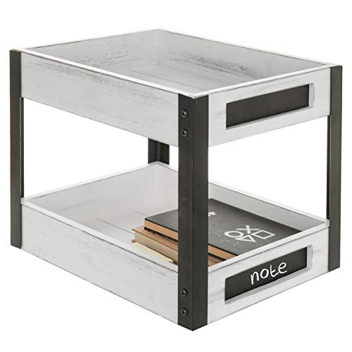 MyGift 2-Tier Vintage White Wood and Metal Document Tray Rack with Chalkboard Labels