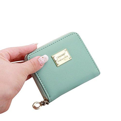 Creazy Women Leather Small Wallet Card Holder Zip Coin Purse Clutch Handbag (Mint Green)