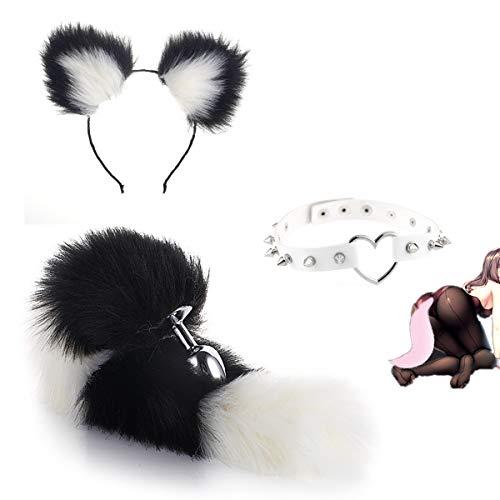 Peluche Suave de Acero Inoxidable con Cola de Zorro P-l-ǔ-g y Diadema de Orejas de Gato, Collar de Gargantilla de Cuero de PU para Mujer, Accesorios de Disfraces para Fiestas de Juego de Roles - M
