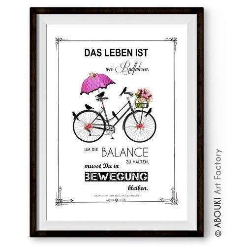 Abouki Hochwertiger Kunstdruck Ungerahmt Mit Einstein Zitat Das Leben Ist Wie Radfahren Deutsch Oder Englisch Poster Geschenk Idee