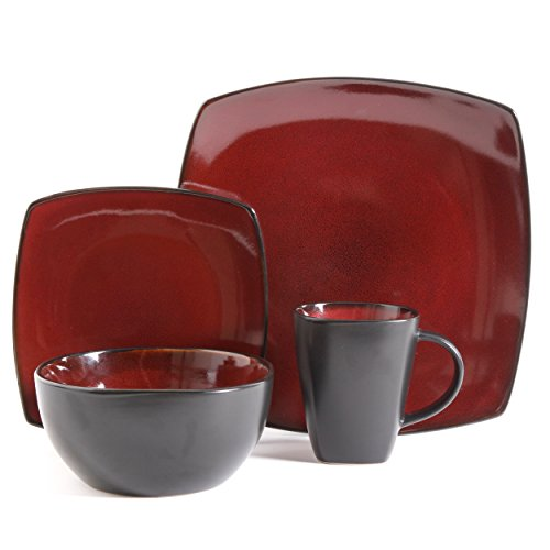 Gibson Bella Soho 16-Piece Square Reactive Glaze Dinnerware Set, Red (Microwave Dinner Set)