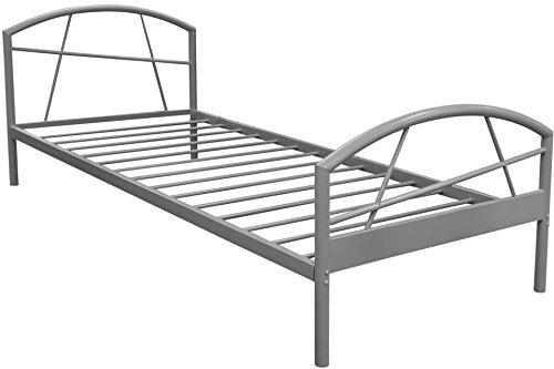 Bett SUSI Grau Bettgestell Metall Liegefläche 90 x 200 cm