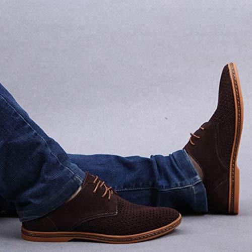 Punta Los Salidas Hueco para Hombres Formales Marrón Oxford Zapatos Respirable Hombres Zapatos Charol Negocios Zapatos Vestir BvwXqTB