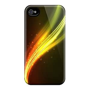 Durable Defender Case For Iphone 4/4s Tpu Cover(orange Waves And Circles Abstract)
