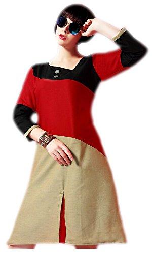 Jayayamala Frauen-Mehrfarben Baumwollbeiläufiges Tunika / Fashion Tunika