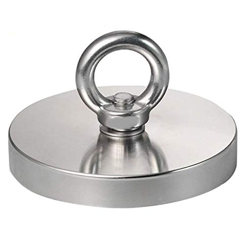 HOVEXUN 1543LBS(700KG) Pulling Force Super Powerful N52 Round Neodymium Magnet with Countersunk Hole and Eyebolt for Salvage or Magnetic Fishing,Diameter 5.35(136mm) X Thick 0.70(18mm)