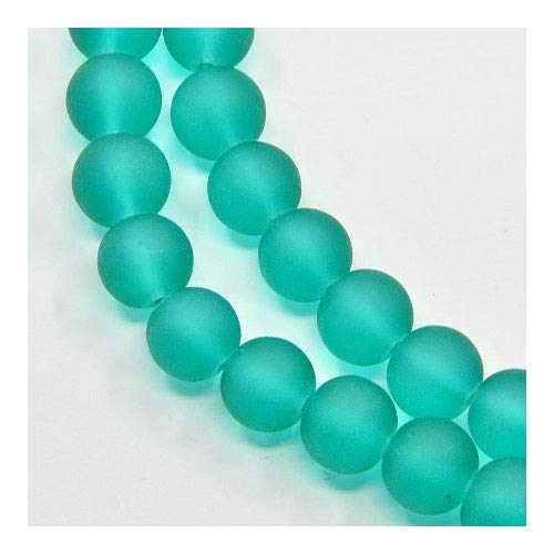 Strand 135+ Teal Green Glass 6mm Frosted Plain Round Beads Y05535 (Charming Beads)