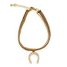 18K Gold Plated Copper Bracelet with Brown Thread and Cubic Zirconia Horseshoe