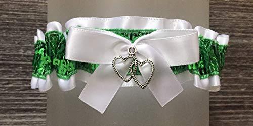White Satin Green Sequin Keepsake Prom Wedding Bridal Garter - Double Heart Charm