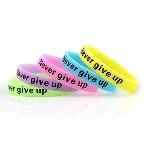 JSP 10 PCS Never Give Up Silicone Wristbands, Glow-in-The-Dark Rubber Bracelets]()