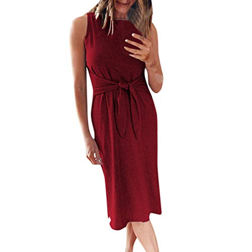 Hemlock Women Sleeveless Casual Dress O Neck Tops Solid Slim Long Dress Bandage Knot Midi Dress Shirts Wine