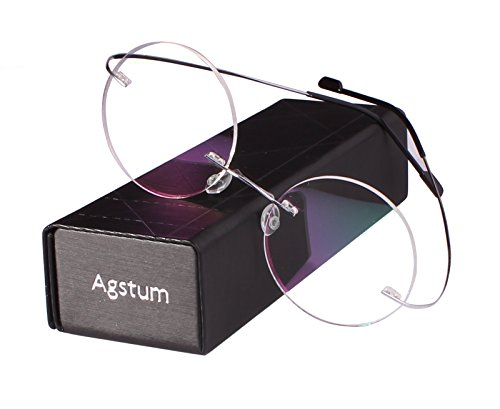 Agstum Pure Titanium Round Prescription Rimless Glasses Frame 46mm (Silver, - Silhouette Rimless Eyeglasses