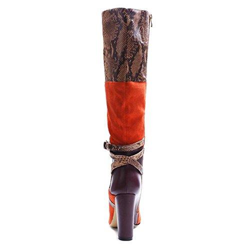 pour Combat en Hauts Femmes Talons en L SuèDe Pointe A Peau De Bottes Serpent YC éPais avec à Longues Bottes tXxxIPZ