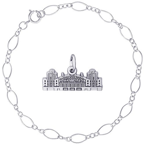 Rembrandt Charms Sterling Silver Navy Pier Charm on a Figaro Link Bracelet, 7