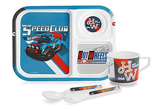 Cello Melmoware Rectangular Hot Wheels Zoom Meal Set, Set of 4