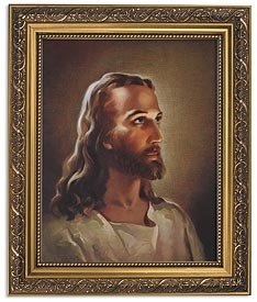 Sallman: Head of Christ Series Print in Ornate Gold Finish Frame ()