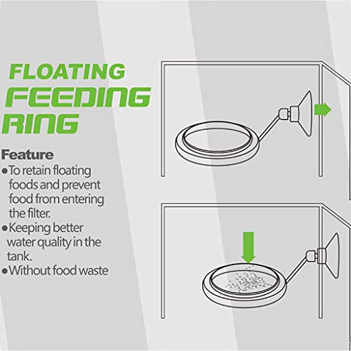 Efaster Feeding Frame Floating Fish Feed Feeding Circle Feeding Ring Aquarium Fish Tank Station Floating Food Tary Feeder Square/Circle (B, Black) by Efaster (Image #3)