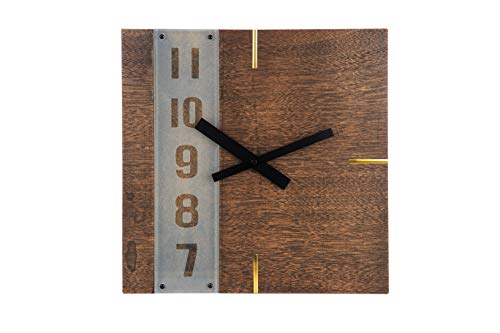 Amigas Home Unique Creative Design Wooden Square Wall Clock with Black Clockhands - Wood Grain Cutout