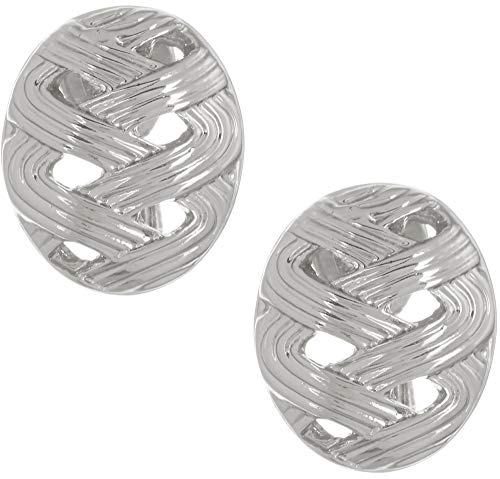 Napier Silver Tone Button Clip On Earrings