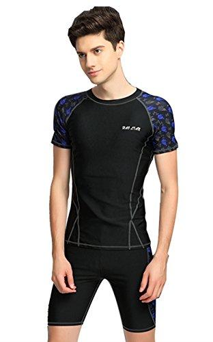 CXYP 맨즈 수영복 휘트니스 트렁크 스위밍용 수영경기 수영복 수영복 상하 세트 UV블럭 자외선 방지 썬탠 방지