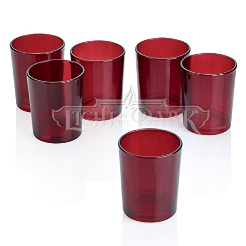Red Glass Round Votive Candle Holders Set of - Round Candle Red
