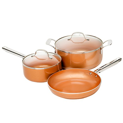 Copper 5 pc Cookware Set Ceramic Nonstick Coating Fry Pan Saucepan Casserole