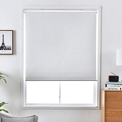 """ALLBRIGHT Blackout Window Shades Cordless Window Blinds with UV Protection Thermal Roller Blinds Darkening Blackout Curtain (White, 32""""W x 72""""H)"""