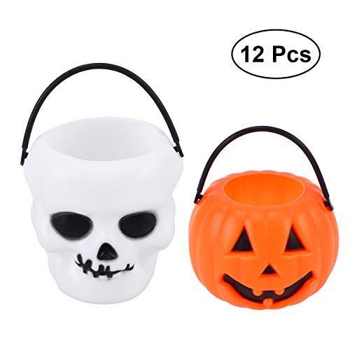 DecorFav 12Pcs Plastic Pumpkin Bucket Skull Prank Tool Children Kids Trick Or Treat Candy Holder Jar Pail Halloween Supplies