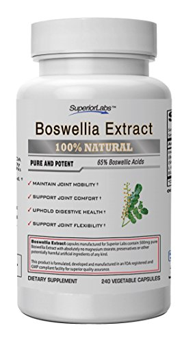 Superior Labs Boswellia Extract - Pure NonGMO Boswellic 65% Acids w/Bioperine Superior Absorption Zero Synthetic Additives - Powerful Formula Joint, Knees, Hips, Migraine, Immune, 500mg Svg, 240 -