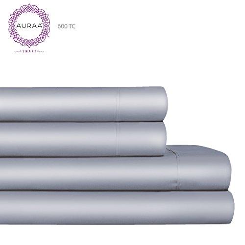 AURAA Smart 600 Thread Count Cotton Rich, 4 Piece Sheet Set, QUEEN SHEETS, 16