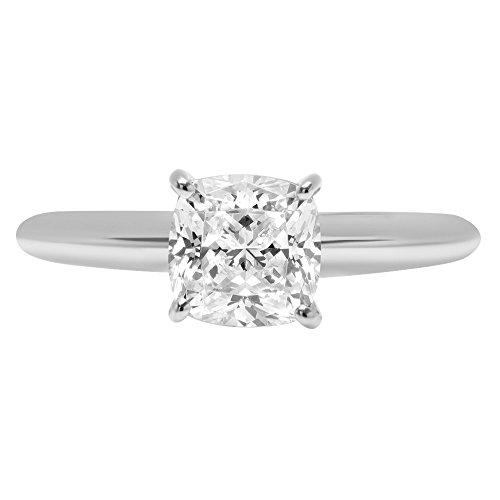 Cushion Brilliant Cut Classic Solitaire Designer Wedding Bridal Statement Anniversary Engagement Promise Ring Solid 14k White Gold, 2.7ct, 8.75 by Clara Pucci (Image #1)
