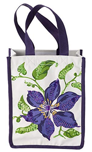 HF by LT Clematis Tote, LT Tote Collection, Premium Cotton Canvas Carryall, Hand-printed Floral Design, Ornate Sequin Detail, Interior Pocket, Hook and Loop Closure