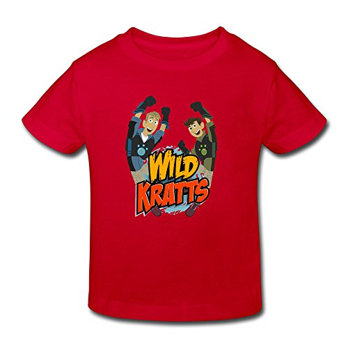 Toddler's 100% Cotton Wild Kratts Cute T-Shirt Red US Size 3 -