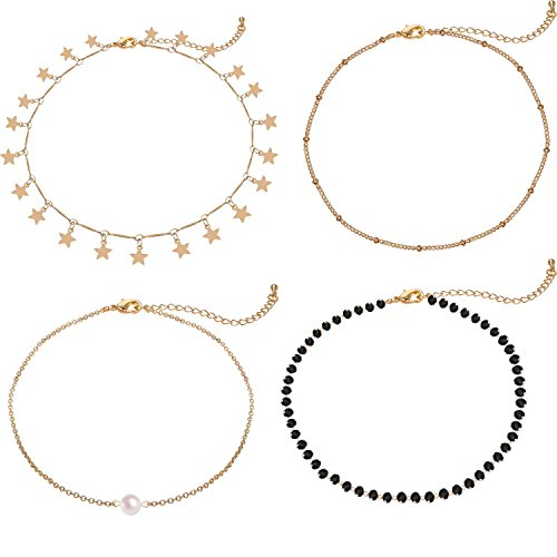 Lateefah Gold Star Pearl Choker Necklace -4 Pieces Set Dainty Pendant Handmade Necklace for Women Girls]()
