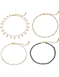 Lateefah Gold Star Pearl Choker Necklace -4 Pieces Set Dainty Pendant Handmade Necklace for Women Girls