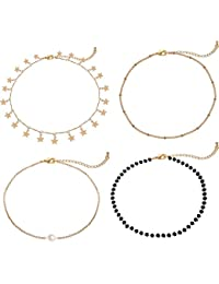 Gold Star Pearl Choker Necklace -4 Pieces Set Dainty Pendant Handmade Necklace for Women Girls …