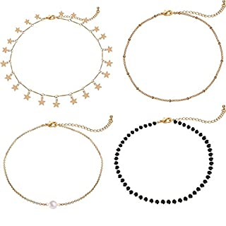 Gold Star Pearl Choker Necklace -4 Pieces Set Dainty Pendant Handmade Necklace for Women Girls … …