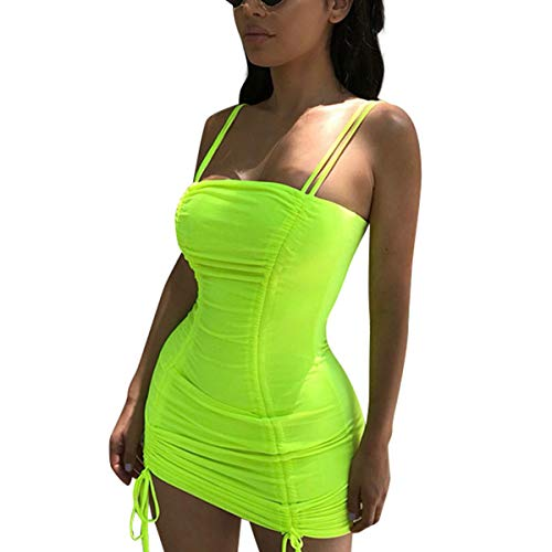 LUFENG Women's Double Spaghetti Strap Ruched Bodycon Sexy Dresses Party Night Club Dresses Neon Lime