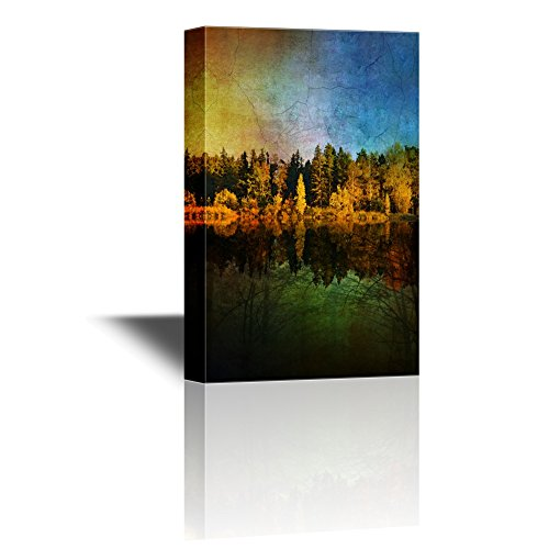 Forest by the Lake with Reflections on the Water on Abstract Background Gallery