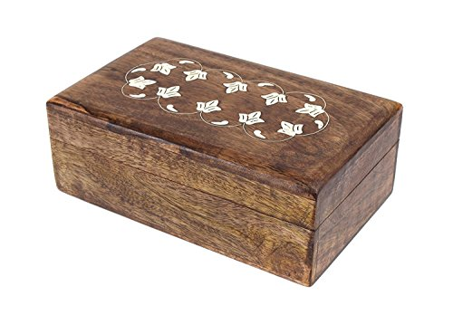Carved Floral Box - The StoreKing Hand Carved Wooden Keepsake Decorative Jewelry Trinket Box Storage Organizer with Floral Patterns for Girls Women (Design 5)