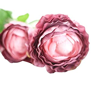 Fabal Silk Artificial Tea Rose Bud Flowers Head For Wedding Decoration DIY Wreath Gift Box Scrapbooking Craft Fake Flowers (wine red) 5