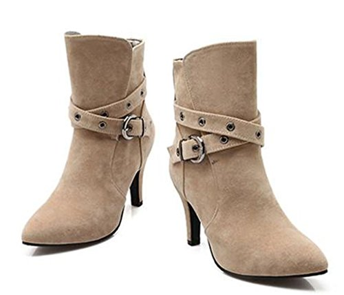 Kitzen Ladies Womens Pointed High Heel Stretch Faux Leather Suede Boots Shoes Cream Colored 1AhB2uRpi