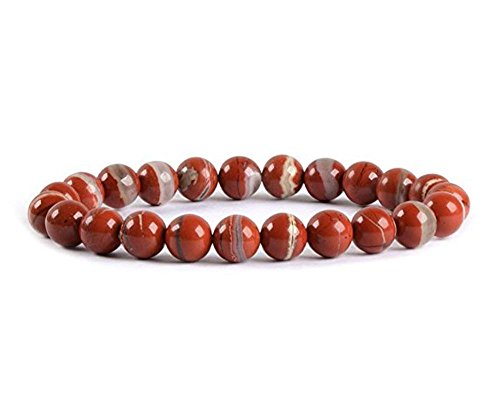 Natural Red River Jasper Bracelet 7.5 inch Stretchy Gemstone Bracelet Chakra Gems Stones Healing Crystal Great Gifts (Unisex) GB8B-33 ()