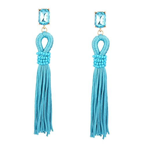 Elogoog Handcraft Gorgeous Long Tassel Drop Dangle Stud Earrings For Wedding Party Dance Jewelry (Blue)]()