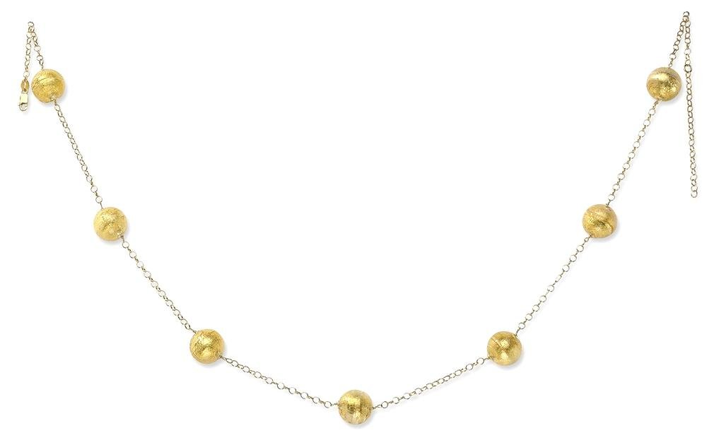 ICE CARATS 14k Yellow Gold Murano Glass 12mm Bead Chain Necklace Station Fine Jewelry Gift Set For Women Heart