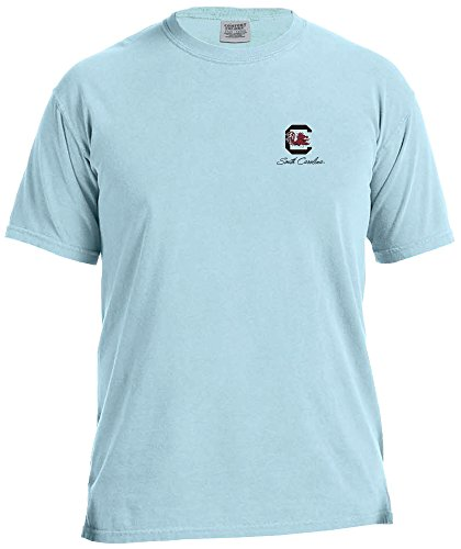 (NCAA South Carolina Fighting Gamecocks Adult NCAA Marquee Comfort Color Short sleeve T-Shirt,Medium,Chambray)
