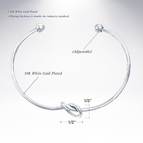 PAVOI Rhodium Plated Adjustable Infinity Forever Love Knot Bracelet Bangle by PAVOI (Image #2)